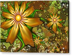Golden Flowers Acrylic Print by Peggi Wolfe