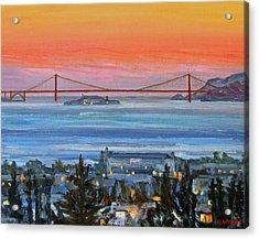 Golden Gate At Twilight Acrylic Print by Robert Gerdes