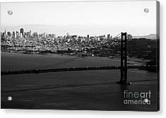 Golden Gate Bridge In Black And White Acrylic Print by Linda Woods