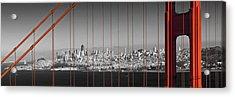 Golden Gate Bridge Panoramic Downtown View Acrylic Print by Melanie Viola