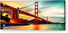 Golden Gate Sunset Acrylic Print by Az Jackson