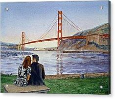 Golden Gate Bridge San Francisco - Two Love Birds Acrylic Print by Irina Sztukowski