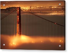 Golden Gate On Fire Acrylic Print by Francesco Emanuele Carucci