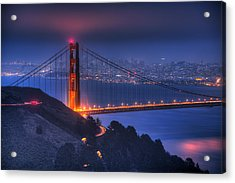 Golden Gate Twilight Acrylic Print by Shawn Everhart