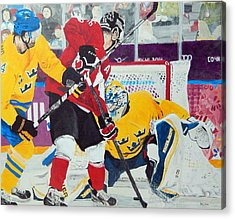 Golden Goal In Sochi Acrylic Print by Betty-Anne McDonald