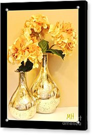 Golden Hydrangia Acrylic Print by Marsha Heiken