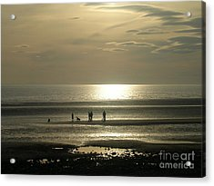 Golden Light On Walney Beach Acrylic Print by Avis  Noelle