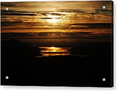Golden Norse Fjordland Sunset Acrylic Print by David Broome