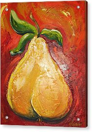 Golden Pear On Red Acrylic Print by Jill Alexander