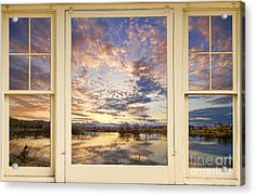 Golden Ponds Scenic Sunset Reflections 4 Yellow Window View Acrylic Print by James BO  Insogna