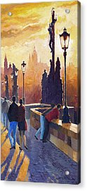 Golden Prague Charles Bridge Acrylic Print by Yuriy Shevchuk