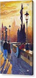 Golden Prague Charles Bridge Acrylic Print by Yuriy Shevchuk