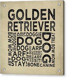 Golden Retriever Typography Acrylic Print by Flo Karp