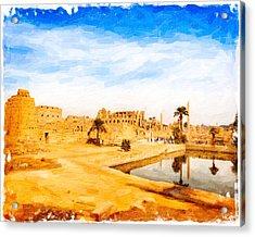 Golden Ruins Of Karnak Acrylic Print by Mark E Tisdale