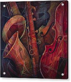 Golden Sax Acrylic Print by Susanne Clark