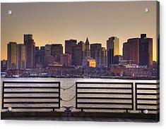 Golden Sunset Over Boston Acrylic Print by Joann Vitali