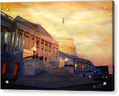 Golden United States Capitol In Washington D.c. Acrylic Print by M Bleichner