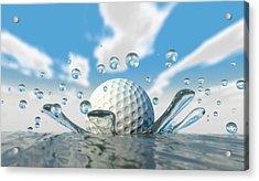 Golf Ball Water Splash Acrylic Print by Allan Swart