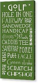 Golf Terms Acrylic Print by Jaime Friedman