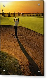 Golfer Taking A Swing From A Golf Bunker Acrylic Print by Darren Greenwood
