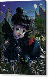 Goth Girl Fairy With Spider Widow Acrylic Print by Martin Davey