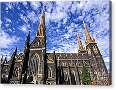 Gothic Revival Style St Patrick's Cathedral In Melbourne Acrylic Print by Beverly Claire Kaiya