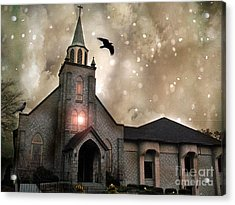 Gothic Surreal Haunted Church And Steeple With Crows And Ravens Flying  Acrylic Print by Kathy Fornal