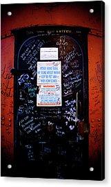 Graffiti Door Acrylic Print by Sebastian Musial