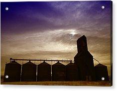 Grain Bins In Reserve Montana Acrylic Print by Jeff Swan