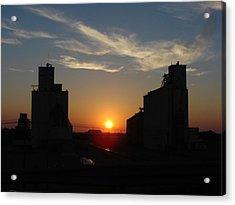 Grain Elevator Sunrise Acrylic Print by Cary Amos