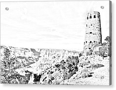 Grand Canyon National Park Mary Colter Designed Desert View Watchtower Black And White Line Art Acrylic Print by Shawn O'Brien
