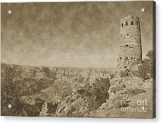 Grand Canyon National Park Mary Colter Designed Desert View Watchtower Vintage Acrylic Print by Shawn O'Brien