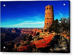Grand Canyon National Park South Rim Mary Colter Designed Desert View Watchtower Vivid Acrylic Print by Shawn O'Brien