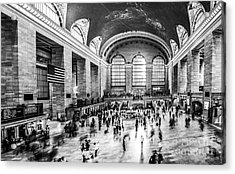 Grand Central Station -pano Bw Acrylic Print by Hannes Cmarits