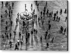 Grand Central Terminal Clock Birds Eye View II Bw Acrylic Print by Susan Candelario