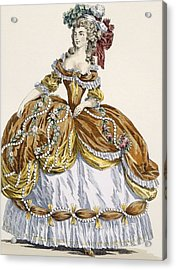 Grand Court Dress In New Style Acrylic Print by Augustin de Saint-Aubin