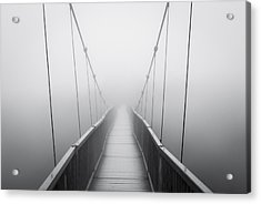 Grandfather Mountain Heavy Fog - Bridge To Nowhere Acrylic Print by Dave Allen