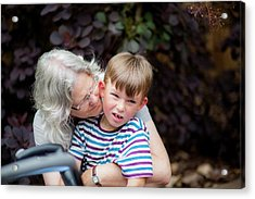 Grandmother Hugging Grandson Acrylic Print by Samuel Ashfield