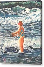 Granny Surf Fishing Acrylic Print by Frank Giordano