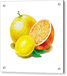 Grapefruit Lemon Orange Acrylic Print by Irina Sztukowski