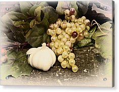 Grapes And Garlic Acrylic Print by Bill Cannon