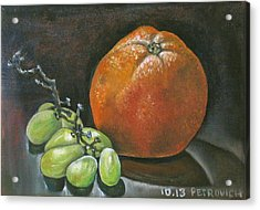 Grapes And Grapefruit Acrylic Print by Petrovich