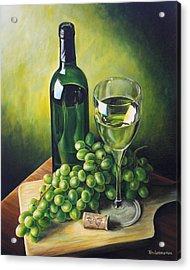 Grapes And Wine Acrylic Print by Kim Lockman