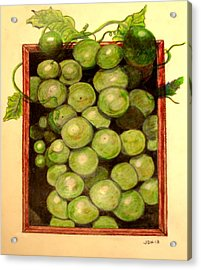 Grapes From A Frame Acrylic Print by Joseph Hawkins