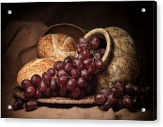 Grapes With Bread Still Life Acrylic Print by Tom Mc Nemar