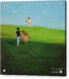 Grass Sledding  Acrylic Print by Amber Woodrum