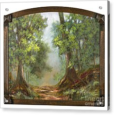 Gratifying Exploring With Gold Leaf By Vic Mastis Acrylic Print by Vic  Mastis