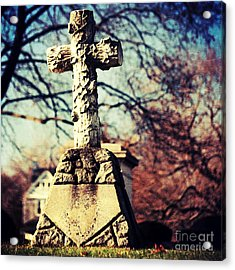 Grave With Cross Acrylic Print by HD Connelly
