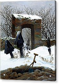 Graveyard Under Snow Acrylic Print by Philip Ralley