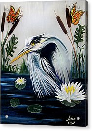 Great Blue Heron Happiness Acrylic Print by Adele Moscaritolo
